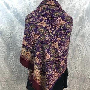 Vintage Shawl Wrap Scarf Tropical Floral
